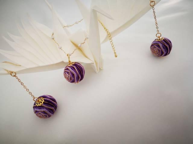 中国结论坛 手鞠球紫色玫瑰,耳环,手链  作品展示 072254lay7mmt7z838jwnh