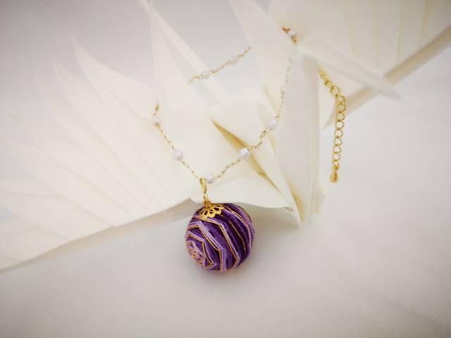 中国结论坛 手鞠球紫色玫瑰(手链,耳环)  作品展示 072400cmow0ewdwuedtnww