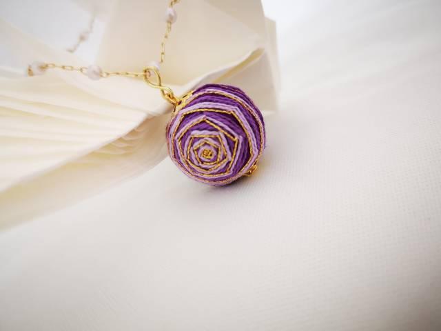 中国结论坛 手鞠球紫色玫瑰(手链,耳环)  作品展示 072400lwxwkzkuxks6weff