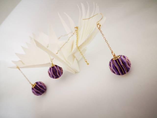 中国结论坛 手鞠球紫色玫瑰(手链,耳环)  作品展示 072401l8qqy7qtogoyovdt