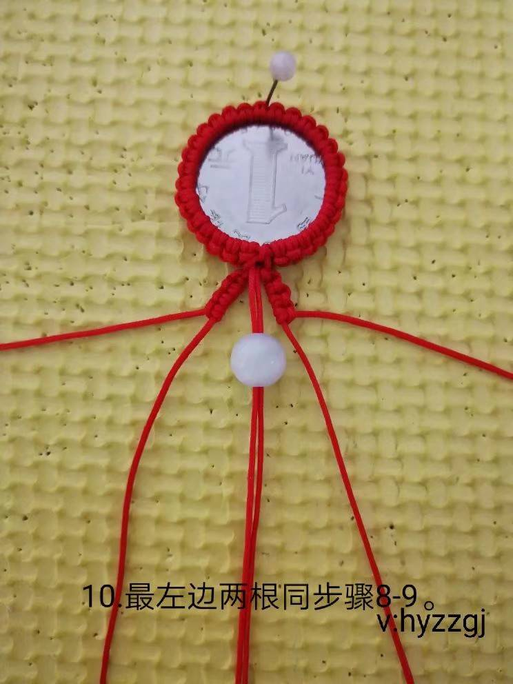 中国结论坛 雀头结包硬币钥匙挂详细教程 教程,裸石包边编绳,包石头挂件编法教程,各种石头的包法教程,包不规则石头的编法 作品展示