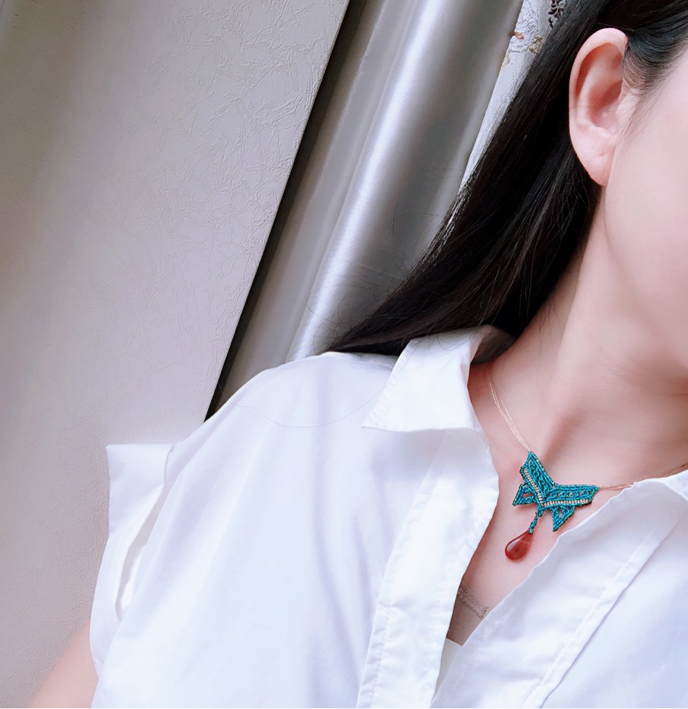 中国结论坛 线头版【蓝蝶】 线头,蜡线,蝴蝶,项链 作品展示 191145cyemme4b8m12ycwm