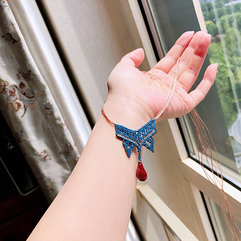 中国结论坛 线头版【蓝蝶】 线头,蜡线,蝴蝶,项链 作品展示 191146n1xu263x6uu6y7rk
