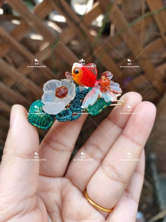 中国结论坛 糖心荷花金鱼发夹 荷花,金鱼,发饰 作品展示 163023il9ezh3aw0wg1qgb