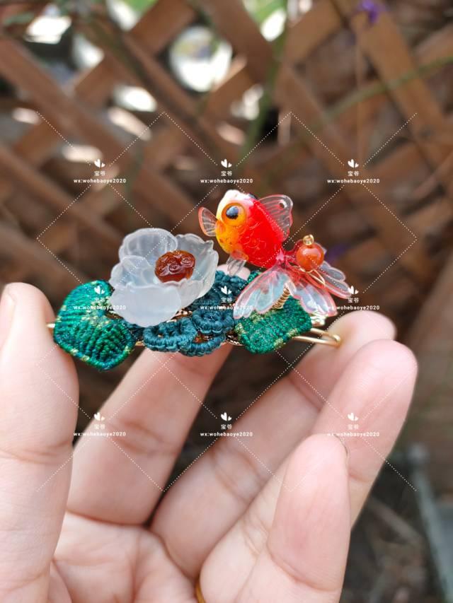 中国结论坛 糖心荷花金鱼发夹 荷花,金鱼,发饰 作品展示 163023rkxaek0ax7xsi3zy