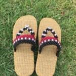 亚麻穿珠夹趾拖鞋