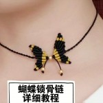 锁骨链编织教程视频, 蝴蝶项链绳做法图解