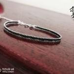 纯银细手链 1mm925纯银细珠链,0.1mm南美蜡线编制