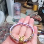 粉紫桃花結手链