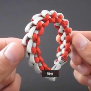 编红绳手链视频-伞绳编手链-男生手链教程编法
