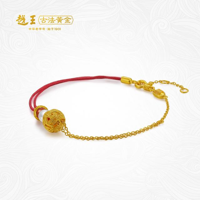 红绳配细金链,温柔时尚,独特东方气质的黄金手链