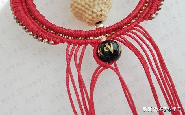 宝宝佛汽车挂件的编法图解,红绳编织