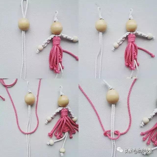 用棉绳花十几分钟就编了个小天使挂件,大家来学一学