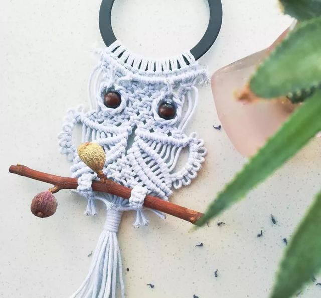 棉绳编织猫头鹰挂饰,编绳手工也可以很可爱