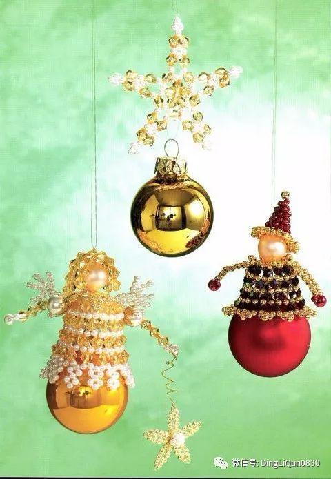 「串珠教程」漂亮的雪花、铃铛等新年挂件大集合