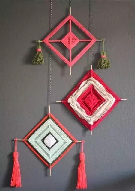 一款手工方形吊饰,挂在家里墙上非常美!附图解教程