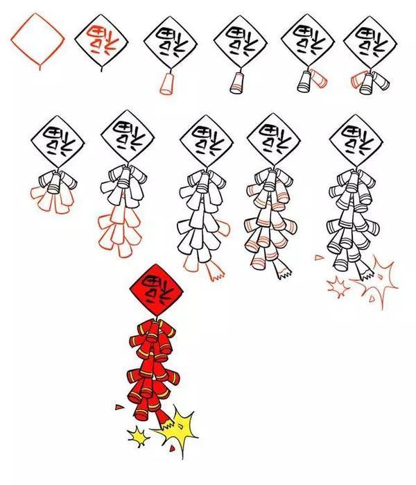 元旦陪娃高级玩法之简笔画,灯笼鞭炮饺子等,新年元素5分钟学齐