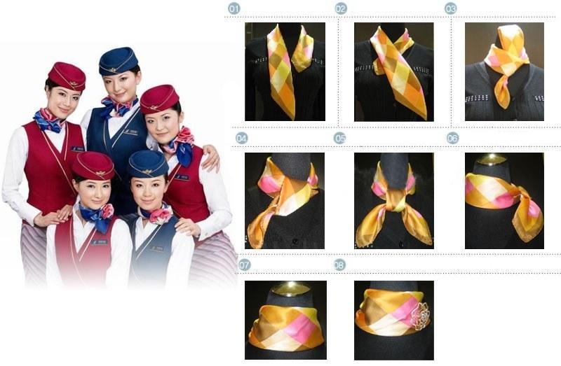 女士工作服丝巾打法,三款漂亮的空姐丝巾系法教程