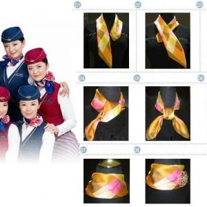 三款漂亮的空姐丝巾系法教程,女士工作服丝巾打法