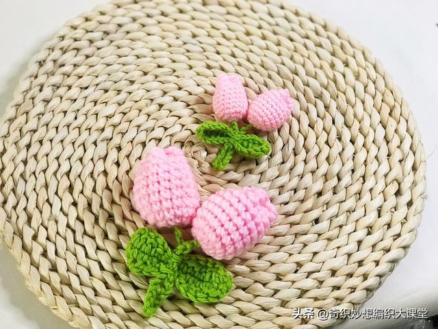 超火的韩式郁金香编织挂件,装饰包包、头发超好看!适合新手
