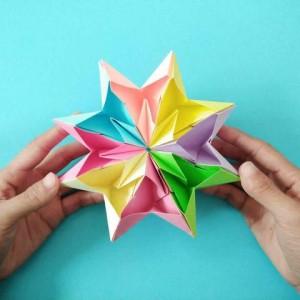 8个爱心无限翻折纸,翻转万花筒折纸法