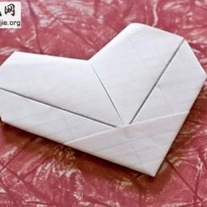 简单的爱心折纸的折法╭纸的折法