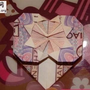 爱心折纸大全之五角钱爱心折纸图解╭纸的折法