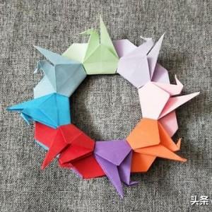 千纸鹤花环的折法,折纸花环叠法教程