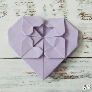 五个爱心折纸教程步骤图,简单爱心折纸做法