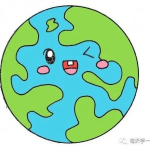 彩色地球简笔画的画法步骤,教您画出漂亮的地球黑板报插画