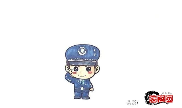 每天学一幅简笔画--可爱的警察简笔画