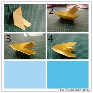 纸船折纸步骤图,纸船简单的折法图解