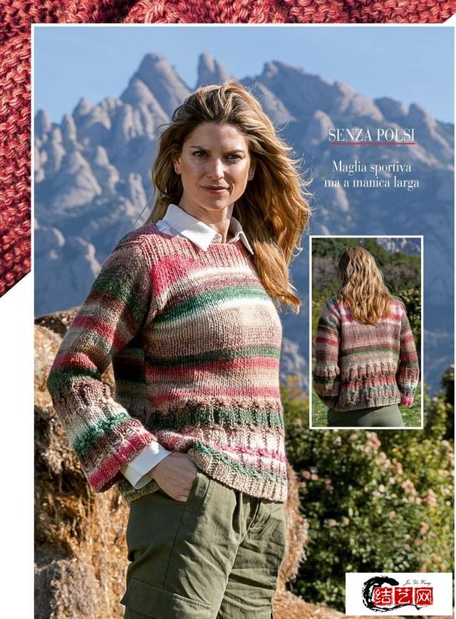 一组简单手编衫,中粗线材编织,款式简约,每款都大方