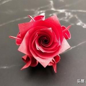 折纸玫瑰花步骤图解,简单又漂亮手工折纸花朵教程