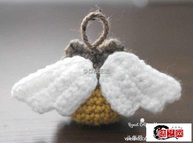 猫头鹰毛线编织挂件 附图解