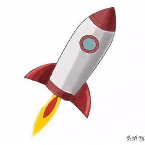 火箭简笔画图解,可爱彩色涂色版火箭画法