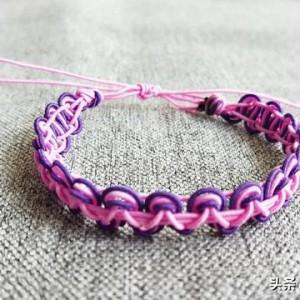 简单小清新手链的编法,红绳手链编法平结收尾