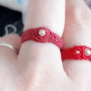 小金珠戒指编法图解,简单黄金转运珠戒指编法
