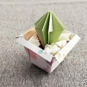 仙人球折纸步骤图解教程,简单又漂亮仙人掌折方法纸