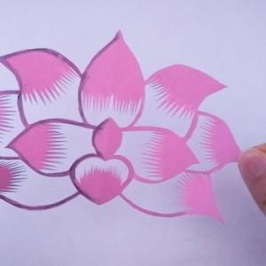 荷花剪纸教程图解步骤,简单又漂亮的荷花制作方法