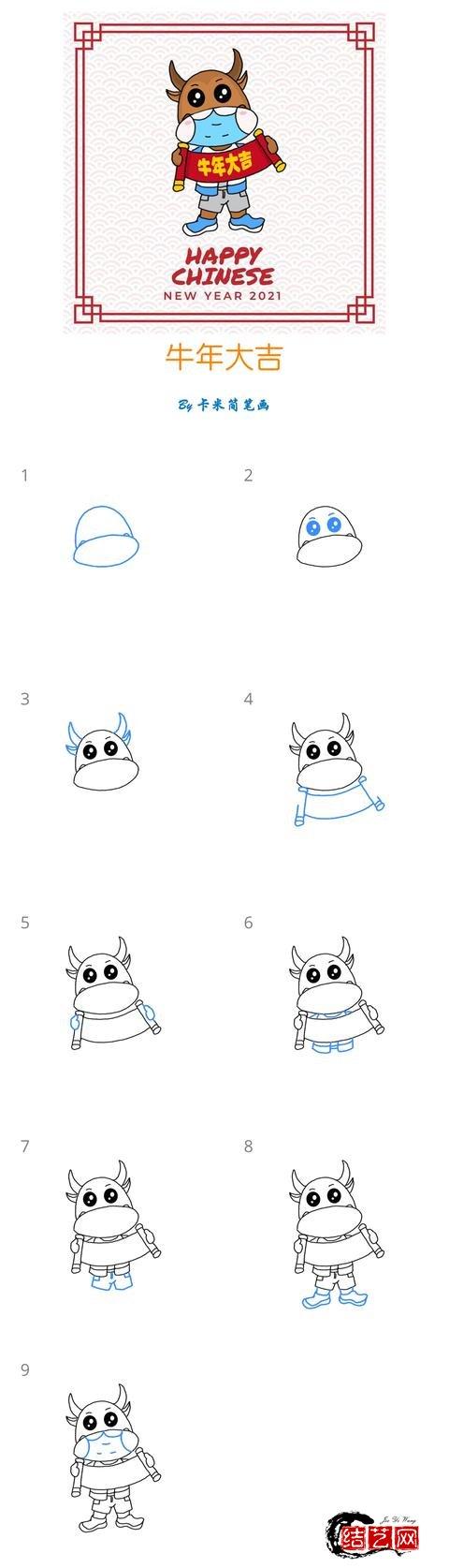六组牛年新年简笔画,祝大家新年快乐