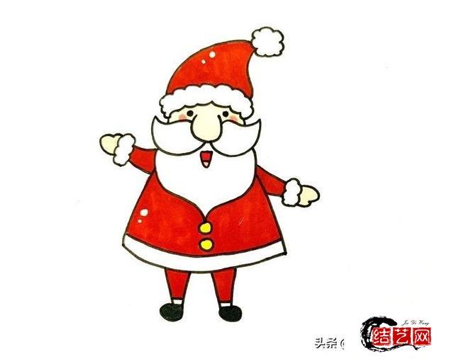 每天学一幅简笔画--一步一步教画圣诞老人