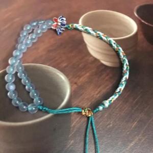 蓝玉髓编绳图解,简单八股辫手绳做法