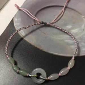 翡翠编织手链教程,冰润玉环米粒珠四股辫手绳