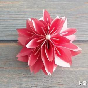 樱花花球折纸教程图解