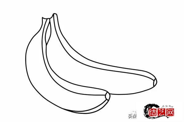 每天学一幅简笔画--两个香蕉简笔画步骤图片大全