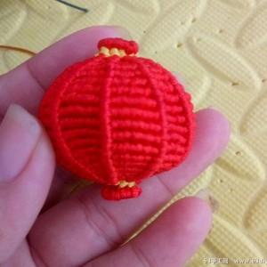 绳子编红灯笼编法图解,5号线玉线编织传统红灯笼挂件的教程