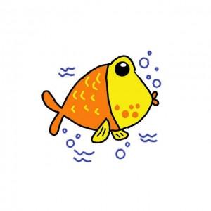 小鱼简笔画图片大全,卡通带颜色简单可爱的小鱼步骤教程