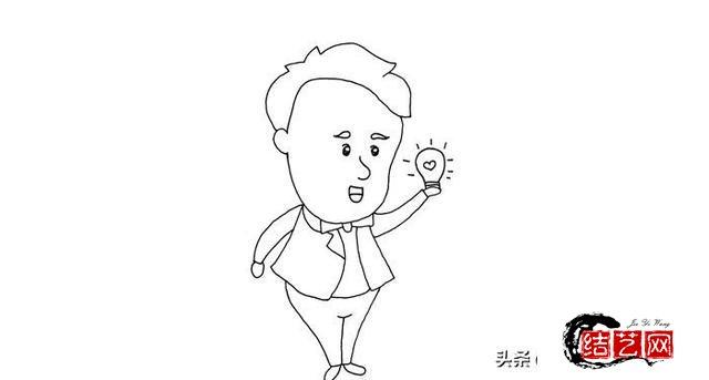 每天学一幅简笔画--爱迪生与电灯简笔画