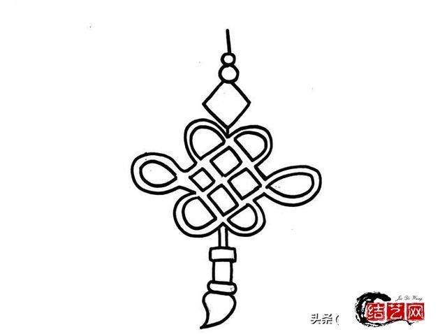 每天学一幅简笔画--红色中国结简笔画